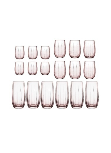 Paşabahçe 18 Li Linka Bardak Su Bardağı - Meşrubat Bardağı Pembe 3 Boy Renkli
